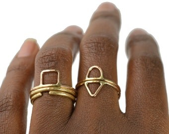 Skinny Stacking Ring, Geometric Midi Ring, Knuckle Ring