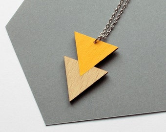 Geometric, double triangle wooden necklace - golden yellow, natural wood  - modern, minimalist jewelry - wood pendant