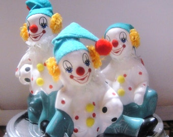 Vintage 3 Soccer Happy Circus Clowns Figurines