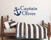Anchor Name Decal - Personalized Captain Decal, Anchor Children's Monogram, two sizes