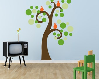 Swirly Tree Vinyl decal, circle tree, polka dot decor, birds in tree, children's wall art