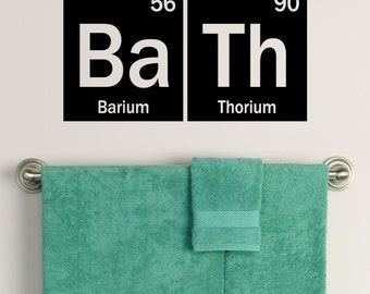 Periodic Table Bath Decal,  Element Decor,  Bathroom decals for science or chemistry geek, kid bath decor, geekery gift