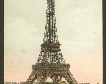 Eiffel Tower Postmark / Hand Tinted Antique 1908 Postcard