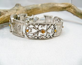 Silver Double Strand Bracelet, Silver Bracelet, Gift for Her,  Amber Crystal Bracelet, November Birthstone Jewelry, Silver Cuff