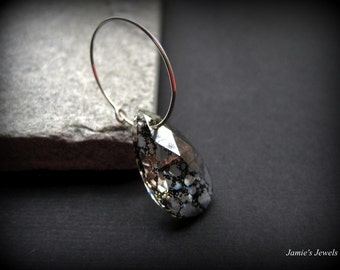 Hoop Earrings - Sterling Silver  -  Modern Silver  - Black Crystal - Special Occasion - Wedding - Crystal Jewelry