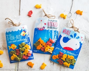 INSTANT DOWNLOAD 3 Printable Classroom Valentines Goldfish Candy Treat Bags  Gummi Fish Swedish Fish Whale Fishing
