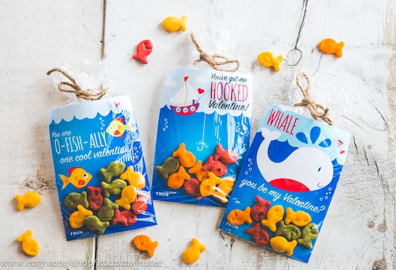 Großartig INSTANT DOWNLOAD 3 Printable Classroom Valentines Goldfish Candy Treat Bags  Gummi Fish Swedish Fish Whale Fishing Boat Nautical Valentineu0027s