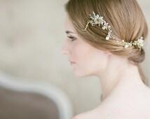Bridal Headpiece ,Wedding Hair Piece , Gold Hair Wrap , Bridal Hair Accessories, Bohemian Hair Piece , Opal Bun Wrap