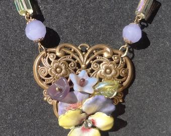 SUPER SALE--Antique Enamel Pansy Necklace
