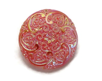 Frosted Tangerine Vintage Glass Button - Large 1940s Antique Glass