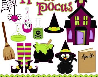Hocus Pocus Digital Clipart - Set of 15 - Potions, Haunted House, Spider Web, Cauldron - Instant Download - Item#8234