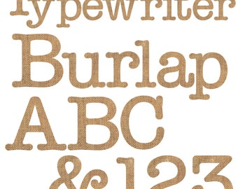Typewriter Burlap Alphabet Digital Clipart - Set of 75 - Letters, Numbers, Punctuation - Instant Download - Item#8236