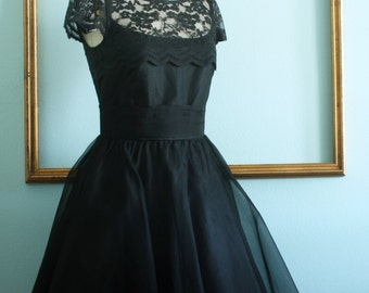 Tea Length dress with lace and organza overlay - retro dress - 1950s formal dress - black or Navy party dress -