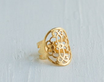 Gold Ring Filigree Ring Tribal Bohemian Festival Jewelry Gift for Her Statement Ring Gift for Him Gold Lace Ring Boho Jewelry