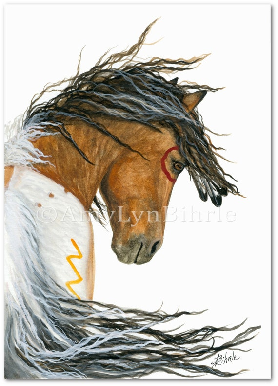Majestic Horse Spirit Paint Pinto Feathers Art Prints By