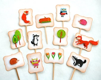 Woodland Cupcake Toppers. Woodland Baby Shower Decorations. Forest Animals Birthday. Skunk, Fox, Owl Decorations. Woodland Party Supplies.