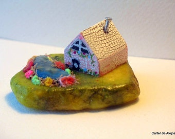 TINY WOODEN HOUSE with pond on Marble Base Very Detailed and Sweet