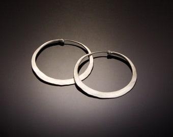 Large Brushed Silver Hoop Earrings