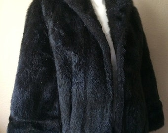 Vintage Women's 60's Faux Fur, Shrug, Coat, Jacket, Black (S-M)