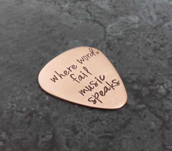 Custom Guitar Pick - Personalized Hand Stamped Guitar Pick - Groomsmen gift - Father of the Bride Gift - Gifts for Dad - valentines gift