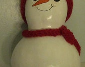 Snowman Gourd with Red Crocheted Scarf and Hat