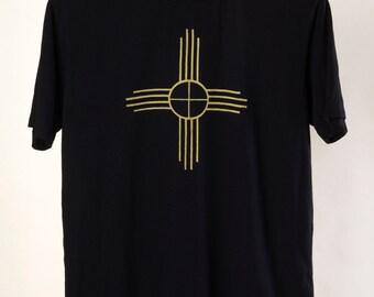 Organic Bamboo/Cotton Men's t shirt Black Zia Symbol by Maude Andrade