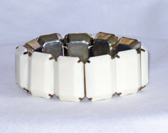Vintage White Thermoset Chiclet Panel Stretch Bracelet (BR-1-2)