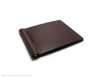 Chocolate Brown Money Clip, Leather Money Clip, Brown Money Clip, Monogram Option