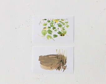 summertime, at the lake (cow lily and cane), set of watercolor cards, nature prints