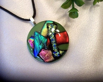 Fused Dichroic Glass Pendant  -  Forest Green and Red - Dichroic Jewelry - Multicolored - 157-13