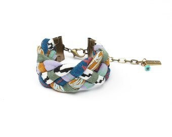Braided Bracelet in Lavender, Blue, Ochre and Green