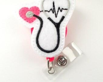 Stethoscope EKG Pink - Retractable Badge Reel - Name Badge Holder - Nurse Badge Holder - Nursing Badge Clip - Nurse Graduation - Badge Reels