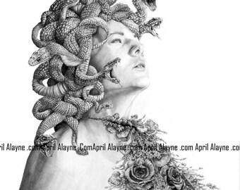 Medusa- Illustration- Black and white- 8 X10 signed print- woman- portrait- fine art - snakes