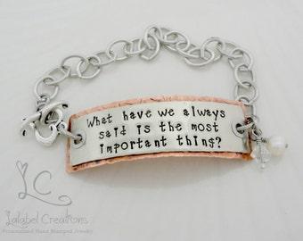 Custom Stamped Bracelet, Hand Stamped Bracelet, Personalized Stamped Bracelet, Hand Stamped Bar Bracelet, Inspirational Quote Bracelet