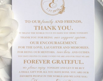 Gold Wedding Reception Thank You Card - Style TY36 - ANGELICA COLLECTION | Wedding Thank You Card | Thank You Card | Thank You Printable