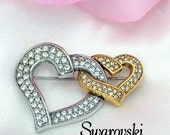 Swarovski Double Pave' Heart Vintage Brooch Pin Signed With Swan