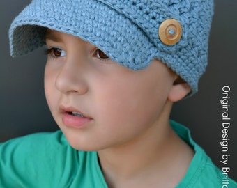Boys Newsboy Crochet Hat Pattern in Toddler, Kid and Adult Size No.210 Digital Download