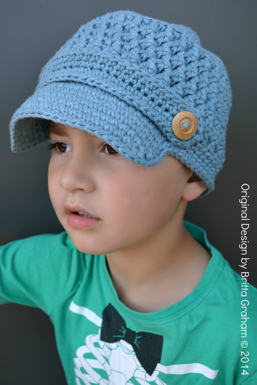Boys Newsboy Crochet Hat Pattern in Toddler Kid and Adult