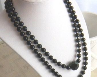 Black Pearl Necklace Multi Strand Ebony Onyx Midnight Charcoal Wedding Jewelry Black Glass Pearls Womens Fashion Jewelry Gift for Her