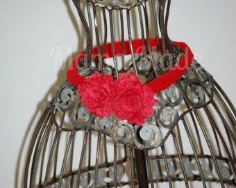 Red shabby flower headband Mini shabby flower headband newborn headband baby flower headband toddler headband shabby red Flower Headband