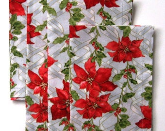 Christmas Napkins - Holiday Napkins - Red Napkins - Poinsettia Napkins -  Dinner Napkins - 18 Inches - Set of 4