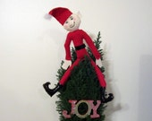 Elf Art Doll - One of a kind felt Christmas Doll - red and black - elf sculpture - holiday decoration - Christmas Elf - Soft Sculpture