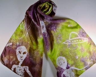 UFO alien scarf green and purple silk