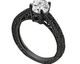 Natural White & Black Diamond Engagement Ring 14K Black Gold 0.72 Carat Certified Antique Vintage Style Engraved Handmade