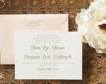 "INVITATION SAMPLE Gold and Blush Pink ""Ballet""  Engraved Wedding Invitation Sample Set - Heirloom Wedding Invitations by Sincerely, Jackie"