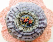 antique french ribbonwork 1920's silk ombre metallic ribbon pin cushion with embroidery