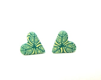 Smokey Teal Heart Studs, Green Earrings, Polymer Clay, Hypo Allergenic, Giftbox, Supremily Jewellery