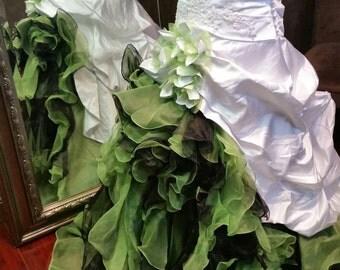 Stunning White and Green Wedding Dress Irish Bridal Gown