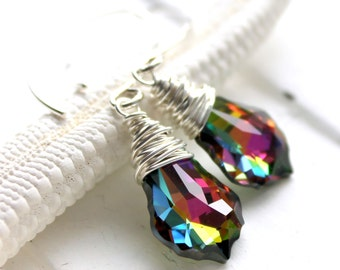 Rainbow Earrings, Multicolor Swarovski Crystal Wire Wrapped Baroque Briolettes, Sterling Silver Earwires