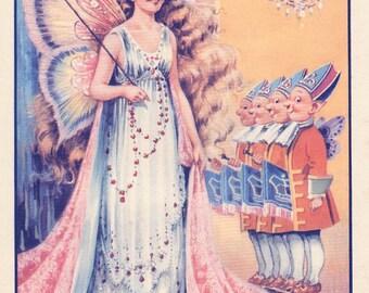 FAIRY PRINCESS print, 1940s vintage Fairy illustration, nursery print or girl bedroom print